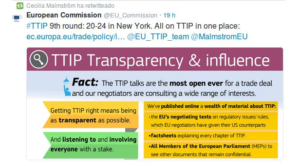 Intento de contra campaña de la UE y Malmstrom ANTES del #18 :)