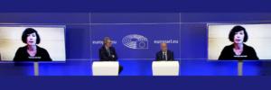 """(Es) Intervención de Simona Levi de Xnet en el diálogo con D. Sassoli, presidente del Parlamento Europeo, U. Von der Leyen, presidenta de la Comisión Europea, el ex presidente R. Prodi y T. Berners-Lee inventor de la web """"Acceso a Internet: un nuevo derecho humano"""""""