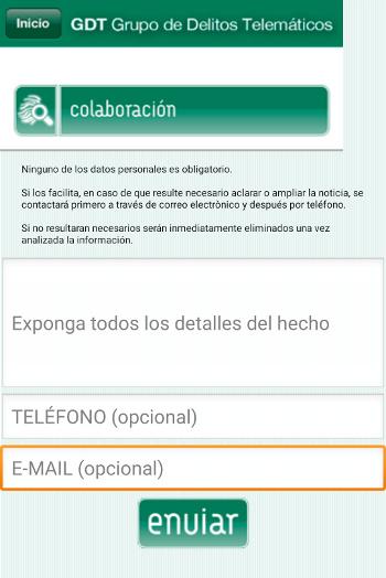 Aplicación para móviles, colabora de forma anónima - Guardia Civil, formulario