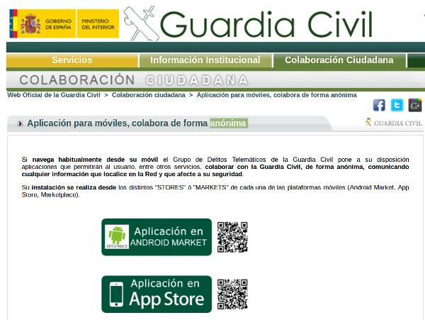 Aplicación para móviles, colabora de forma anónima - Guardia Civil