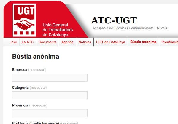 Bústia anònima - UGT Catalunya