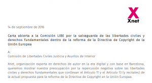 (Es) Carta abierta a la Comisión LIBE por la salvaguarda de las libertades civiles y derechos fundamentales dentro de la reforma de la Directiva de Copyright de la Unión Europea