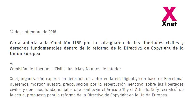 Carta abierta a la Comisión LIBE por la salvaguarda de las libertades civiles y derechos fundamentales dentro de la reforma de la Directiva de Copyright de la Unión Europea