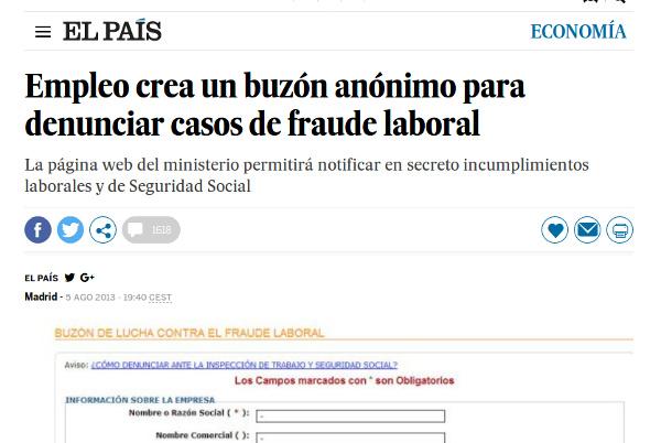 Empleo crea un buzón anónimo para denunciar casos de fraude laboral