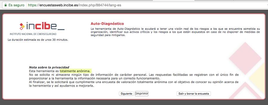 Herramienta de Auto-Diagnóstico de seguridad - Instituto Nacional de Ciberseguridad de España