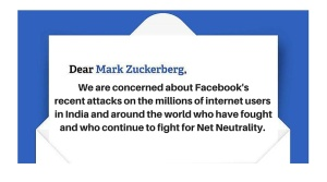 Open letter to Mark Zuckerberg on Net Neutrality advocacy in India