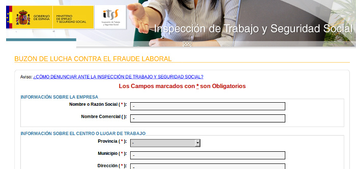 BUZÓN DE LUCHA CONTRA EL FRAUDE LABORAL... COLABORA con la Inspección de Trabajo y Seguridad Social