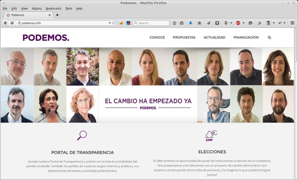 Web de Podemos después del 24M