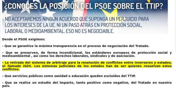 PSOE Social Democratas prometían NO al ISDS