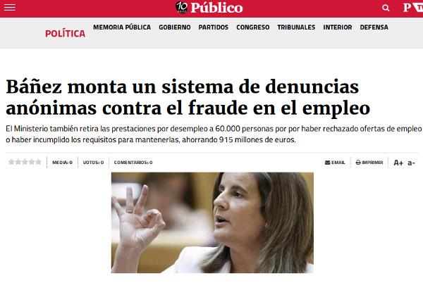 Báñez monta un sistema de denuncias anónimas contra el fraude en el empleo