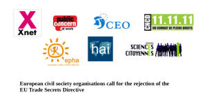 European civil society organisations call for the rejection of the  EU Trade Secrets Directive